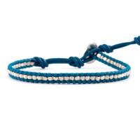 Sterling Silver Single Wrap Bracelet on Light Blue Leather $90.00