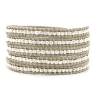 Sterling Silver Wrap Bracelet on Beach Leather $195.00