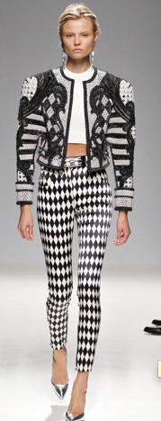 Balmain mode arlequin pantalon noir et blanc