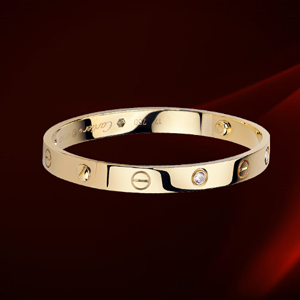 Cartier 18k Yellow Gold Love Bracelet with 4 Diamonds 300
