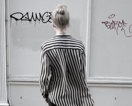 Chicnova chemise à rayures monochromes noires et blanches
