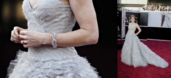 Amy Adams, bracelets tressé en diamants par Mouawad