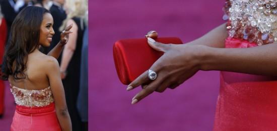 Kerry Washington, bague cocktail attrape-lumière en diamants par Fred Leighton