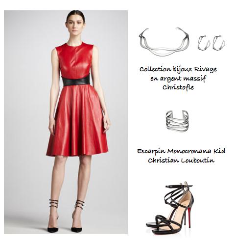 Collection de bijoux Rivage et look approprié avec la robe en cuir Monique Lhuillier et les escarpins Christian Louboutin