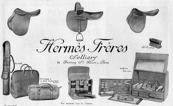 Publicité d'Hermès en 1923, article de maroquinerie, sellerie