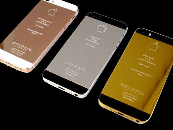Les trois modèles de l'iPhone 5S en or rose, platine et or jaune 24 carats signés Gold & Co.