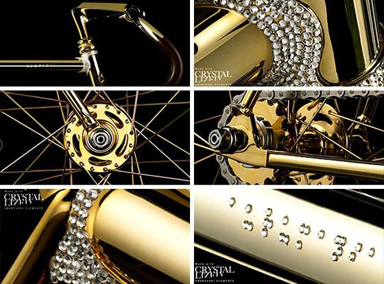 L'Aurumania Crystal Edition Gold Bike, incrusté avec pas moins de 600 cristaux Swarovski!